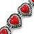 Vintage Inspired 'Hearts' With Red Ceramic Stones Bracelet With T-Bar Closure In Burn Silver Metal - 18cm Length - view 2