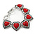 Vintage Inspired 'Hearts' With Red Ceramic Stones Bracelet With T-Bar Closure In Burn Silver Metal - 18cm Length - view 5