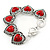 Vintage Inspired 'Hearts' With Red Ceramic Stones Bracelet With T-Bar Closure In Burn Silver Metal - 18cm Length - view 8