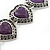 Vintage Inspired 'Hearts' With Purple Ceramic Stones Bracelet With T-Bar Closure In Burn Silver Metal - 18cm Length - view 2