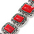 Vintage Red Ceramic Stone Square Filigree Bracelet With Toggle Clasp -18cm Length - view 4