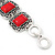Vintage Red Ceramic Stone Square Filigree Bracelet With Toggle Clasp -18cm Length - view 7