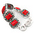 Vintage Red Ceramic Stone Square Filigree Bracelet With Toggle Clasp -18cm Length - view 5