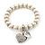 Freshwater Pearl Swarovski Crystal 'Heart' Charm Flex Bracelet In Rhodium Plating - 18cm Length - view 7