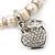 Freshwater Pearl Swarovski Crystal 'Heart' Charm Flex Bracelet In Rhodium Plating - 18cm Length - view 8