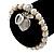 Freshwater Pearl Swarovski Crystal 'Heart' Charm Flex Bracelet In Rhodium Plating - 18cm Length - view 3