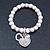 Freshwater Pearl Swarovski Crystal 'Heart' Charm Flex Bracelet In Rhodium Plating - 18cm Length - view 10