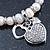 Freshwater Pearl Swarovski Crystal 'Heart' Charm Flex Bracelet In Rhodium Plating - 18cm Length - view 5