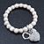 Freshwater Pearl Swarovski Crystal 'Heart' Charm Flex Bracelet In Rhodium Plating - 18cm Length - view 4