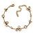 Vintage Inspired Crystal, Open Flower Delicate Bracelet In Antique Gold Metal - 17cm Length/ 6cm Extention