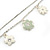 Delicate Silver Tone Double Chain With Enamel Floral Charms Bracelet (White/ Pale Green) - 18cm Length/ 4cm Extension - view 4