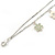 Delicate Silver Tone Double Chain With Enamel Floral Charms Bracelet (White/ Pale Green) - 18cm Length/ 4cm Extension - view 5