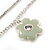 Delicate Silver Tone Double Chain With Enamel Floral Charms Bracelet (White/ Pale Green) - 18cm Length/ 4cm Extension - view 6