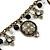Vintage Inspired Floral, Bead Charm Bracelet In Bronze Tone (Grey, Black, White) - 16cm Length/ 3cm Extension - view 4