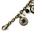 Vintage Inspired Floral, Bead Charm Bracelet In Bronze Tone (Grey, Black, White) - 16cm Length/ 3cm Extension - view 5