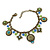 Vintage Inspired Floral, Bead Charm Bracelet In Bronze Tone (Olive Green, Light Blue) - 16cm Length/ 3cm Extension - view 7