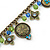 Vintage Inspired Floral, Bead Charm Bracelet In Bronze Tone (Olive Green, Light Blue) - 16cm Length/ 3cm Extension - view 4
