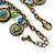 Vintage Inspired Floral, Bead Charm Bracelet In Bronze Tone (Olive Green, Light Blue) - 16cm Length/ 3cm Extension - view 5