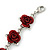 Romantic Red Rose Bracelet In Rhodium Plating - 18cm Length/ 6cm Extension - view 5