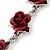 Romantic Red Rose Bracelet In Rhodium Plating - 18cm Length/ 6cm Extension - view 4