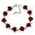 Romantic Red Rose Bracelet In Rhodium Plating - 18cm Length/ 6cm Extension