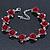 Romantic Red Rose Bracelet In Rhodium Plating - 18cm Length/ 6cm Extension - view 7