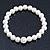 Bridal/ Prom/ Wedding 8mm White Glass Bead With Clear Swarovski Crystal Ball Flex Bracelet - 18cm Length