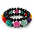 Romantic Multicoloured Resin Rose, Black Glass Bead Flex Bracelet - 19cm Length - view 1