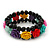 Romantic Multicoloured Resin Rose, Black Glass Bead Flex Bracelet - 19cm Length - view 5