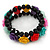 Romantic Multicoloured Resin Rose, Black Glass Bead Flex Bracelet - 19cm Length - view 6