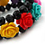 Romantic Multicoloured Resin Rose, Black Glass Bead Flex Bracelet - 19cm Length - view 3