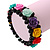 Romantic Multicoloured Resin Rose, Black Glass Bead Flex Bracelet - 19cm Length - view 2