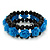Romantic Sky Blue Resin Rose, Black Glass Bead Flex Bracelet - 19cm Length