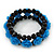 Romantic Sky Blue Resin Rose, Black Glass Bead Flex Bracelet - 19cm Length - view 5