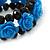 Romantic Sky Blue Resin Rose, Black Glass Bead Flex Bracelet - 19cm Length - view 2