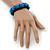 Romantic Sky Blue Resin Rose, Black Glass Bead Flex Bracelet - 19cm Length - view 4