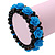 Romantic Sky Blue Resin Rose, Black Glass Bead Flex Bracelet - 19cm Length - view 3