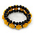Romantic Yellow Resin Rose, Black Glass Bead Flex Bracelet - 19cm Length - view 5