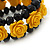 Romantic Yellow Resin Rose, Black Glass Bead Flex Bracelet - 19cm Length - view 3