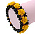 Romantic Yellow Resin Rose, Black Glass Bead Flex Bracelet - 19cm Length - view 2
