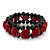 Romantic Dark Red Resin Rose, Black Glass Bead Flex Bracelet - 19cm Length