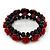 Romantic Dark Red Resin Rose, Black Glass Bead Flex Bracelet - 19cm Length - view 5