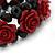 Romantic Dark Red Resin Rose, Black Glass Bead Flex Bracelet - 19cm Length - view 3