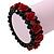 Romantic Dark Red Resin Rose, Black Glass Bead Flex Bracelet - 19cm Length - view 2