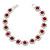 Fuchsia /Clear Swarovski Crystal Floral Bracelet In Rhodium Plated Metal - 17cm