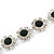 Emerald Green/ Clear Austrian Crystal Floral Bracelet In Rhodium Plated Metal - 17cm L - view 4