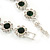 Emerald Green/ Clear Austrian Crystal Floral Bracelet In Rhodium Plated Metal - 17cm L - view 5