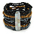Wide Multistrand Black, Hematite, Bronze Glass Beaded Flex Bracelet With Mother Of Pearl Bars - 20cm L
