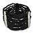 Wide Multistrand Black Glass Beaded Flex Bracelet With Mother Of Pearl Bars - 21cm L