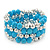 Light Blue Ceramic & Worn Silver Tone Acrylic Bead Coiled Flex Bracelet - Adjustable - view 3